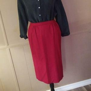 VTG 70s Mod Dark Red High Waist Wool Pencil Skirt